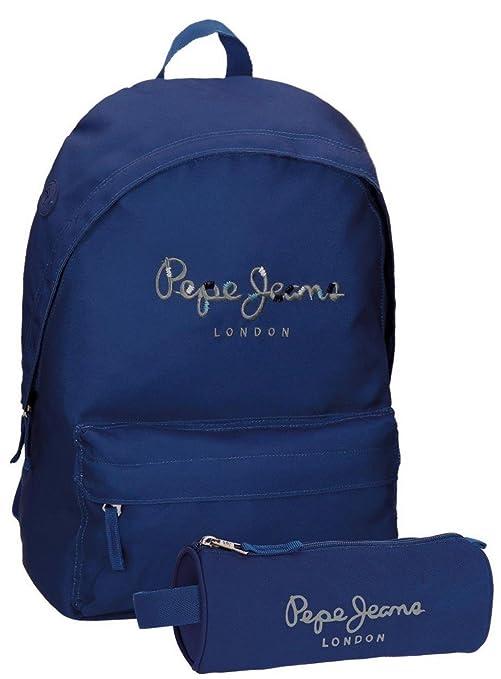 Pepe Jeans 66823A3 Harlow Mochila Escolar, 42 cm, 22.79 litros, Azul