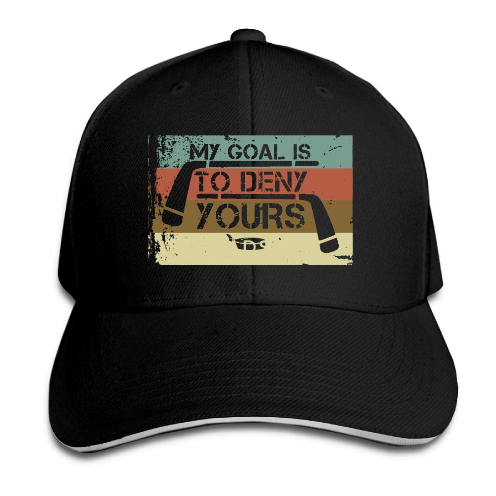 JustQbob1 My Goal is to Deny Yours Hockey Outdoor Snapback Sandwich Cap Adjustable Baseball Hat Dad Hat