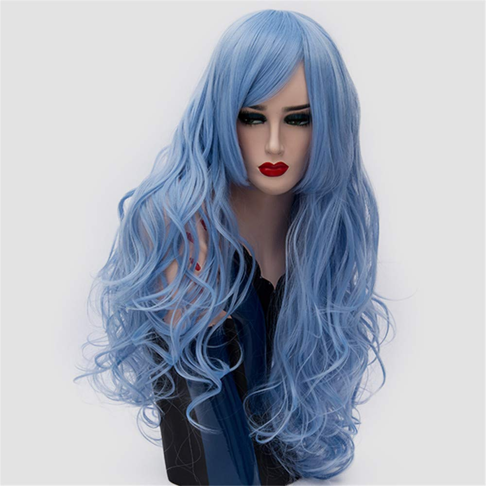 LONGLOVE European and American Wigs European and American Fashion Big Wave Long Curly Hair (Sky Blue) by LONG LOVE (Image #3)
