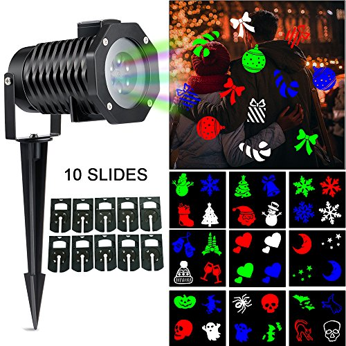 (slashome Christmas LED Projector Light with 10 Pattern Waterproof Snowflake Dynamic Slides,)