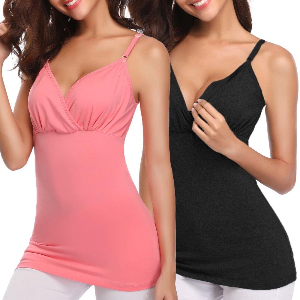 Derssity Women Nursing Tank Tops,Nursing Tops for Maternity Breastfeeding((Black+Pink)/Crossover Style,S) by Derssity