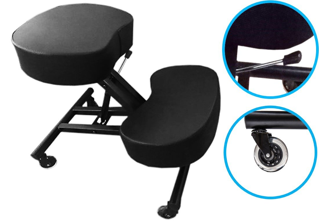 Sleekform Ergonomic Kneeling Chair - 4 inch thick Cushions with High Resilience Sponge - Roller Blade Casters - Pneumatic Gas Lift - Faux Leather Knee Chair - Knee Stool for Good Posture