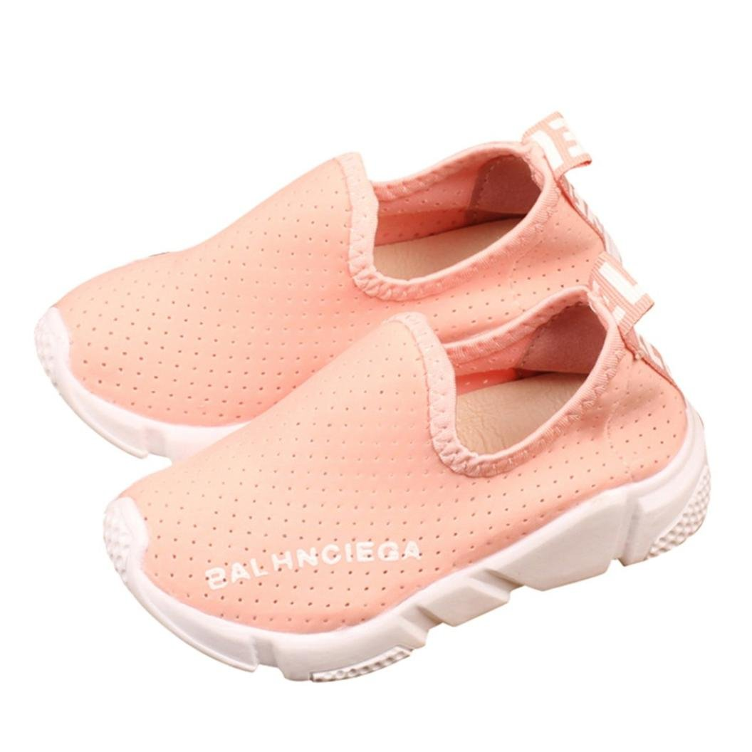 Appoi Boys Girls Shoes Solid Letter Print Shoes Mesh Running Sport Sneaker Shoes (Pink, 36)