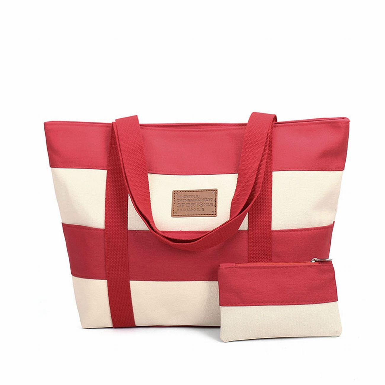 SELECTIA Women's Heavy Duty Durable Cotton Canvas Tote Shoulder Bag Washable Unisex on sale with zipper bulk organizer insert canvas with pockets and wallet set art supplies 11 (Red)