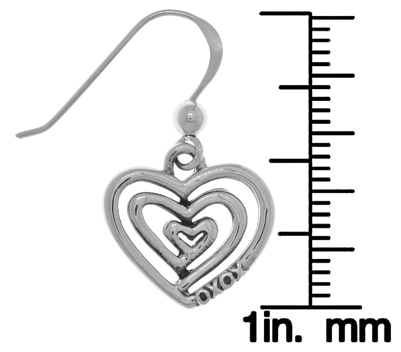 Jewelry Trends Triple Spiral Love XOXO Heart Sterling Silver Dangle Earrings