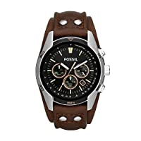 FOSSIL Coachman Chronograph Leather Watch – Analogue Men's Watch with Quartz Movements and Silver Dial - Stopwatch, Tachymeter and Timer Functionality