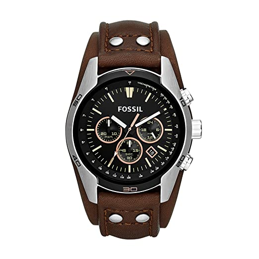 Fossil Coachman Chronograph Brown Leather Watch Analogue Men S Watch With Quartz Movements And Black Dial Stopwatch Tachymeter And Timer