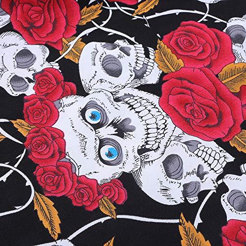 Azúcar De Fe Vestido Vendimia Skull Calavera Floral Verano Rose Mujeres Fiesta De RFYtw
