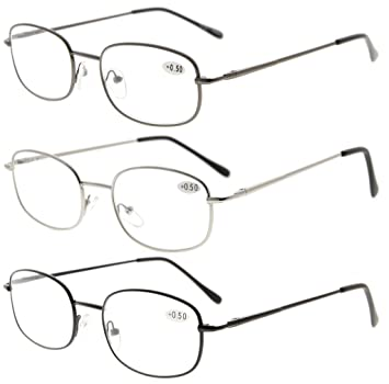c9f65178b94 Image Unavailable. Image not available for. Color  Eyekepper Metal Frame  Spring Hinged Arms Reading Glasses ...