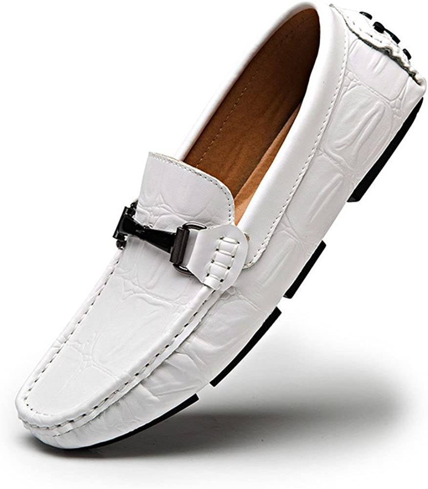 Gobling Mens Casual Penny Moccasins Crocodile Texture Genuine Leather Slip-on Driving Loafer Shoes