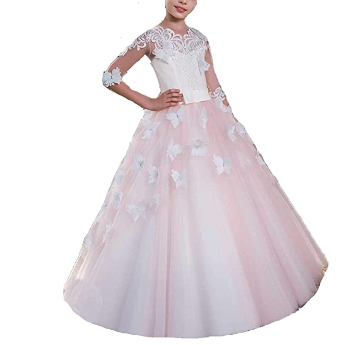 MerryGirl Vestido de niña de Flores con Apliques de Encaje Vestido de niña de Primera comunión