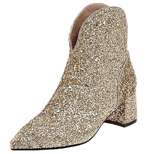 HooH Women Chelsea Boots Kitten Heel Pointed Toe Bling Sequins Chunky Ankle Boots Gold 08W7V11Bve