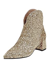 Royou Yiuoer Women Chelsea Boots Kitten Heel Pointed Toe Bling Sequins Chunky Ankle Boots