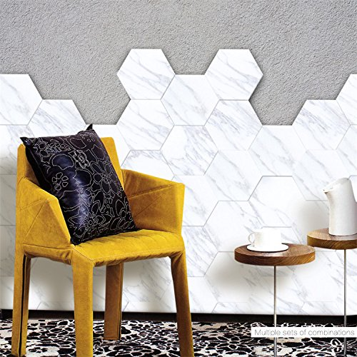 Wall Floor Decor Backsplash - AmazingWall Marble Effect Floor Sticker Tile Wall Decor Hexagon Skip Proof Kitchen Bathroom Decals Self Adhesive 4.53x7.87