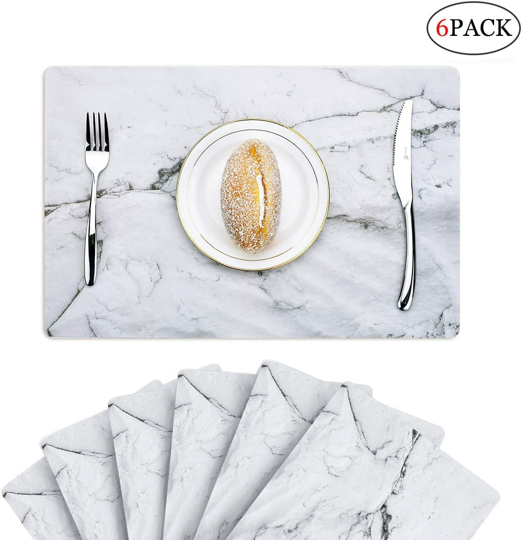 6 PCS Marble Placemats Plactic Waterproof Thin Environmental Materials Easy Clean for Kitchen Dinner Party((Marble)