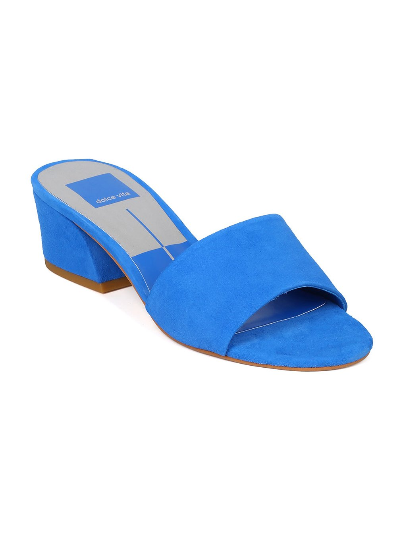 Dolce Vita Rilee Women Suede Open Toe Low Block Heel Slide HA58 - Blue Suede (Size: 7.5)