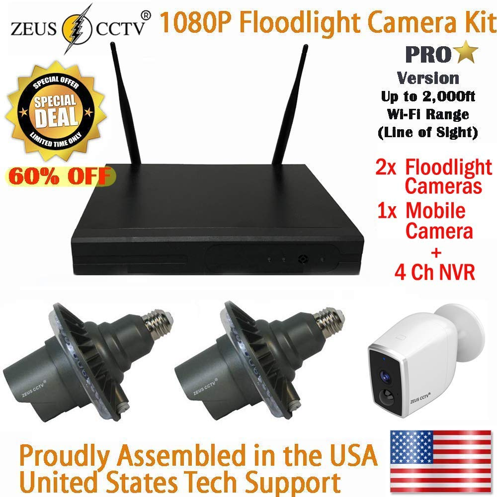 ZEUS CCTV 4 Channel Standalone Pro Wi-Fi NVR System + 2 Twist in Pro Floodlight + 1 Mobile Camera Surveillance Security Cameras Complete Install Kit with Hard Drive