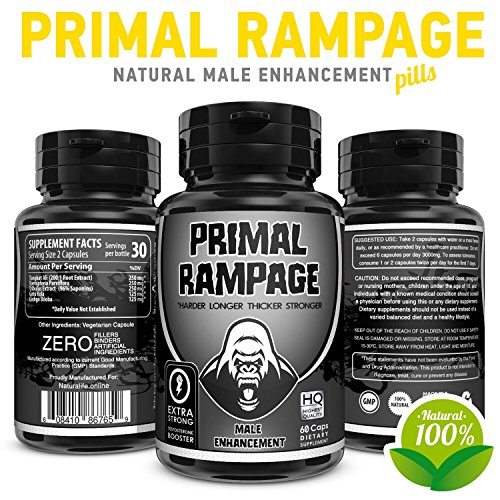 Primal-Rampage Natural Male Enhancement Pills - Penis Enlargement & Enhancing Sexual Performance Formula - Increases Testosterone Levels & Dick Size – 100% Organic 60 Vegetable Cellulose ()