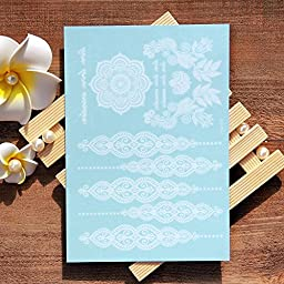 070FC 6-Sheet Henna Tattoo Stickers Lace Chains Mandala Temporary Tattoo Body Paints for Wedding Makeup (White)