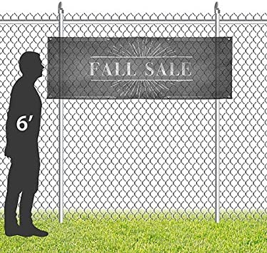 12x4 CGSignLab Chalk Burst Wind-Resistant Outdoor Mesh Vinyl Banner Fall Sale