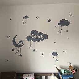 Personalised Name Baby Wall Sticker Clouds Stars Moon Bird Sky Amazon Co Uk Kitchen Home