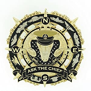 "CPO CHIEF Male Compass Coin ""Navy Chief Navy Pride"" ""Anchor Up!"" ""Ask The Chief"" US Navy Challenge Coin from Kidder Corp"
