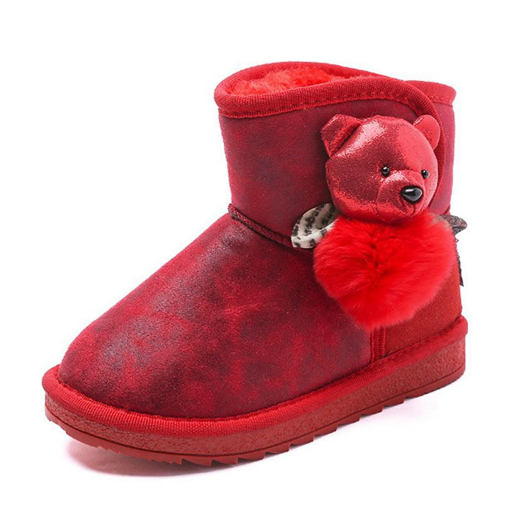 CYBLING Winter Warm Fur Ankle Snow Boots for Kids Girls with Cute Bear Decor Toddler//Little Kid