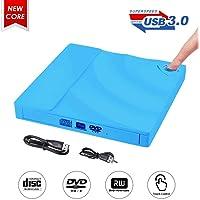 Grabadora CD DVD Externa,ShangQia USB 3.0 Lector Grabadora CD/DVD Ultra Slim Portátil Unidad Externa Burner Óptico CD + DVD +/-RW/-RW Super Drive para Windows 2003/Vista/XP/7/8/10/Linux/MacOS(Azul)