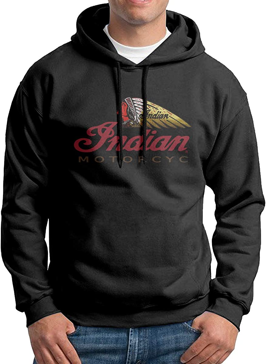 Droiramie Mens with Indian Motorcycle Print Hoodies