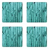 Ambesonne Turquoise Coaster Set of Four, Wall of Turquoise Wooden Texture Background and Antique Timber Furniture Artful Print, Square Hardboard Gloss Coasters for Drinks, Blue