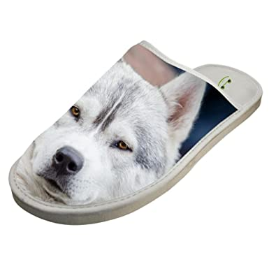 dbd8e479d Amazon.com  Slippers with Siberian Husky Huskie 3D Print Indoor Sandals  Soft Shoes Flat House Flip Flops  Clothing