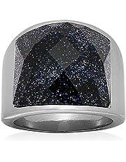Ring Titanium Steel Purple Natural Stone Ring For Men Size 9