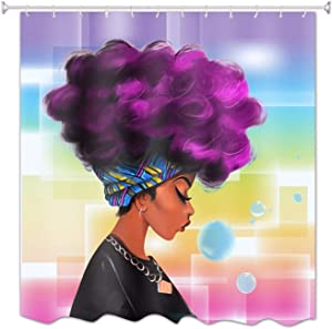 African American Woman Shower Curtain for Bathroom,Colorful Painting Bath Curtains Liner with 12 Hooks,Waterproof Fabric Bathroom Décor Accessories Set 72x72 Inch (African Woman Purple Hair)