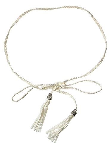 BELLA-Cintura Donna Sottile Intrecciata Cinglia Armaturato, Bianco, Taglia unica