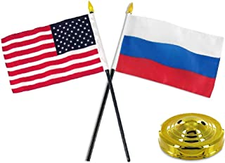 Moon Russia USA American Flag 4''x6'' Desk Set Table Stick Gold Base Best Garden Outdor Decor Polyester Material Flag Premium Vivid Color and UV Fade Resistant
