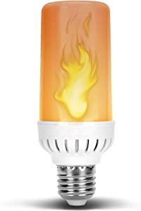 Flame Flickering Glowing Amber Fire Effect LED Light Bulb in E26 Medium Edison Screw Base DC 12 Volt Landscaping Low Voltage Lighting for Home Landscape Outdoor Battery System 4W