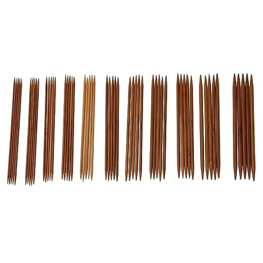 5 juegos de 11 tamanos pulgada Conjunto agujas juego punto bamboo carbon 13 cm