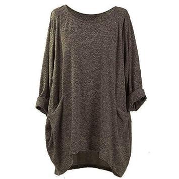 d52ea3a806168 AiBarle Fashion Manches Longues O Cou Poche t-Shirts Ample décontracté  Chemisiers Taille Plus Shirt