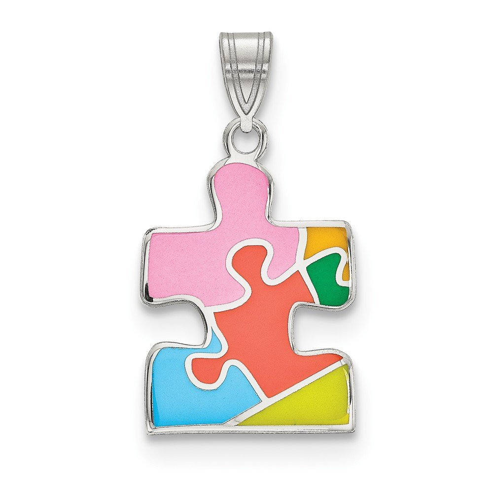 Sonia Jewels Sterling Silver Rhod-Plated Enameled Autism Puzzle Piece Pendant 15mm x 28.5mm