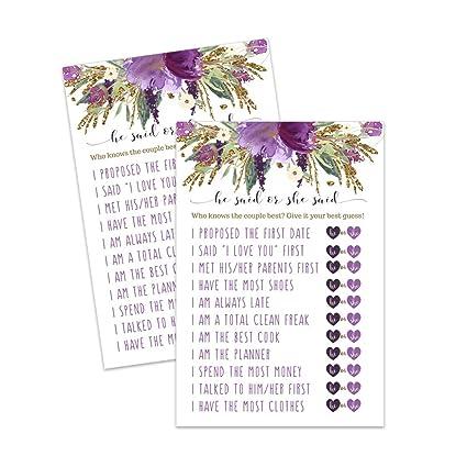 93e7547571c6 Amazon.com  Purple Floral Bridal Shower Games He Said She Said - Set ...