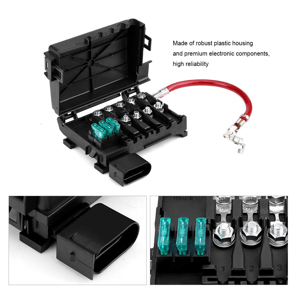 Acouto Car Battery Fuse Box Holder Terminal for Mk4 Beetle 99-04 1J0937550A