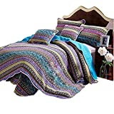 Autumn Vintage Floral Striped Quilt Set King Size, Jacquard Style Reversible Bedding Quilt, Hotel Luxury Cotton Quilt Bedspread Set with Colorful Flowers Printed, Machine Washable, Breathable, Style2
