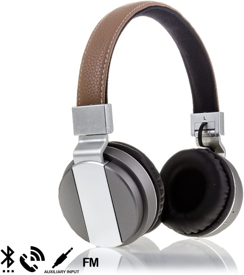 Silica DMR261GREY marrón. - Cascos Diadema Plegables Deluxe Bluetooth bt008 Manos Libres, Color Gris y marrón