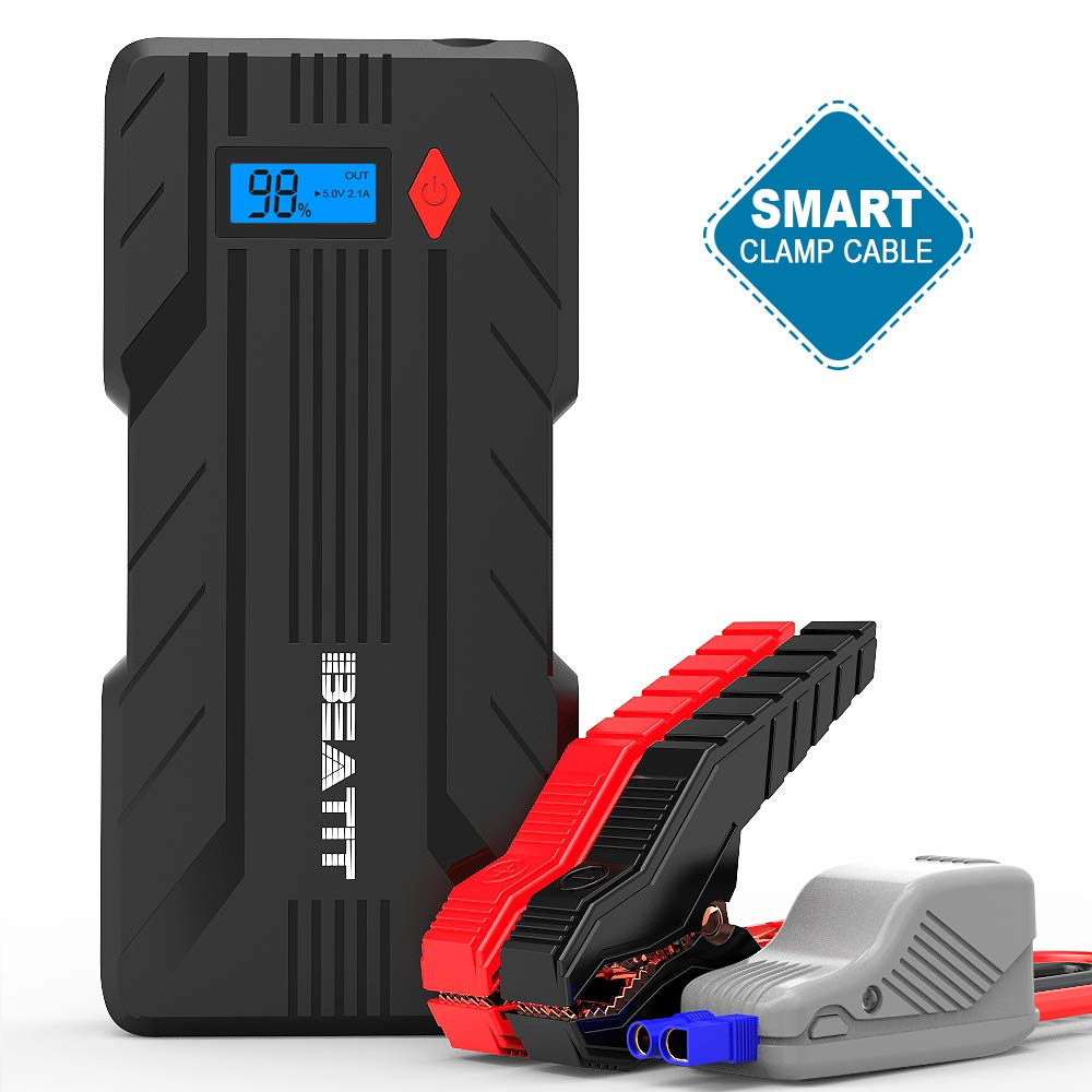 Beatit BT-B7 1200A Peak Car Jump Starter (Up to 7.2L Gas or 6.0L Diesel Engines, 12V Auto Battery Booster Phone Charger Power Pack with Smart Jumper Cables)