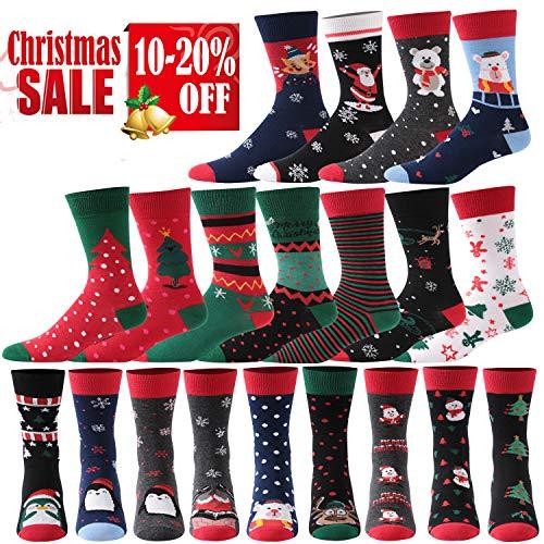 Christmas Socks, Mifidy Unisex Holiday Printed Cartoon Novelty Crew Socks 3/5/6 Pairs