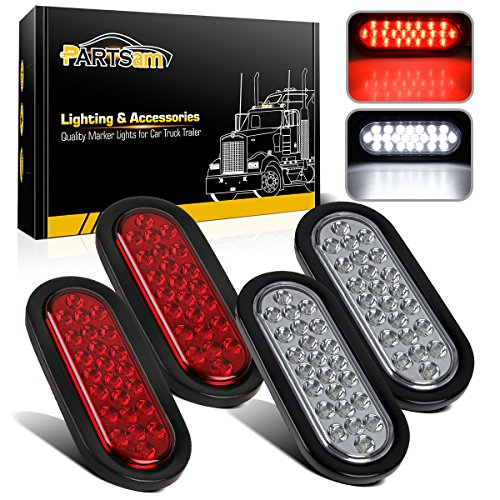 Partsam 2xRed + 2xWhite 6 24 LED Oval Stop Turn Tail Lights Brake Backup Reverse Light Kit for Truck Trailer Bus RV Camper Waterproof 12V Sealed 6 Inch Oval Led Trailer Tail Lights Grommet Mount