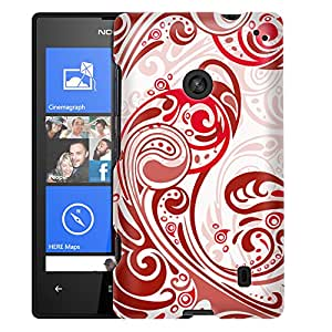 Nokia Lumia 520 Case, Slim Fit Snap On Cover by Trek Abstract Swirled Sades of Red on White Case