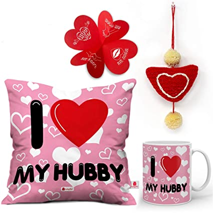 Buy Indigifts I Love My Hubby Quote Seamless Heart Pattern Pink