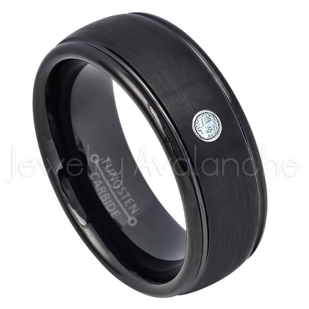 Comfort Fit Tungsten Wedding Band 0.07ct Aquamarine Solitaire Ring March Birthstone Ring Jewelry Avalanche 8mm Dome Black Tungsten Ring