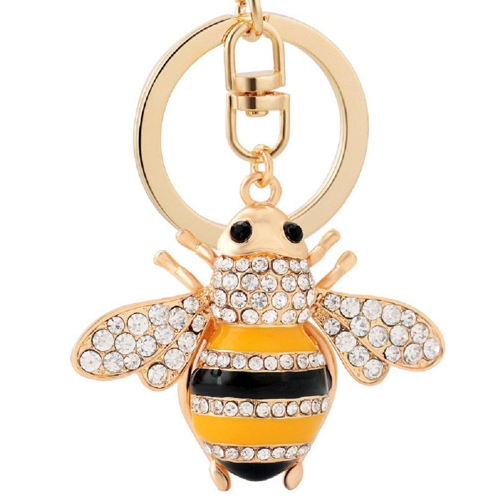 Gespout Women Keyring Cute Small Bee Alloy Keychain for Handbag Pendant Car Decoration Romantic Couple Gift